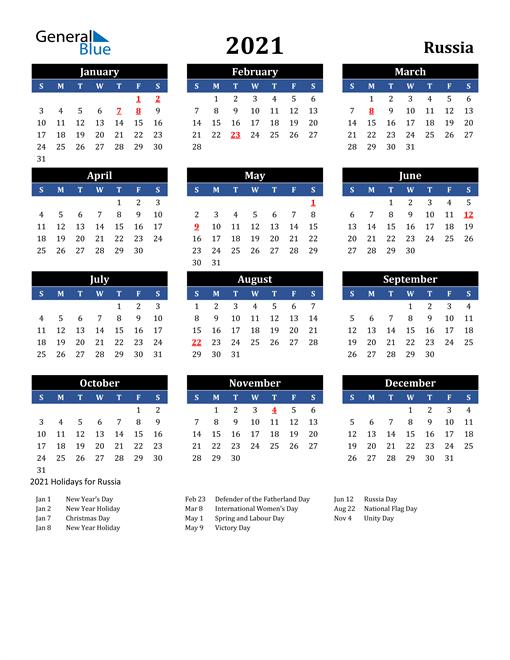 2021 Russia Free Calendar