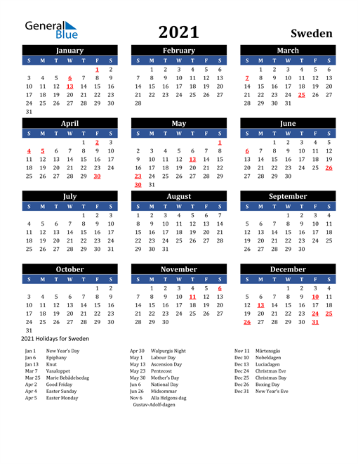 Image of Sweden 2021 Calendar in Blue and Black with Holidays