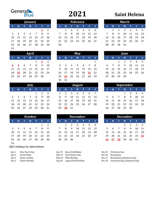 2021 Saint Helena Free Calendar