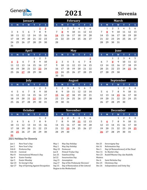 2021 Slovenia Free Calendar