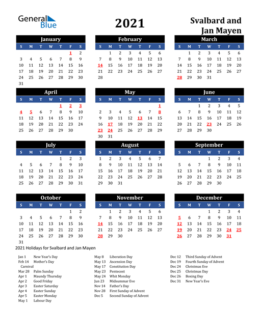 2021 Svalbard and Jan Mayen Free Calendar