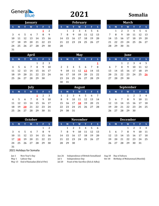 Image of Somalia 2021 Calendar in Blue and Black with Holidays