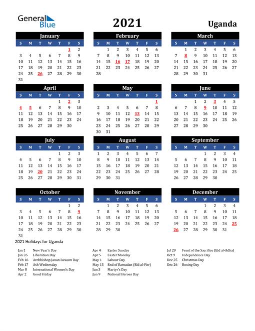 2021 Uganda Free Calendar