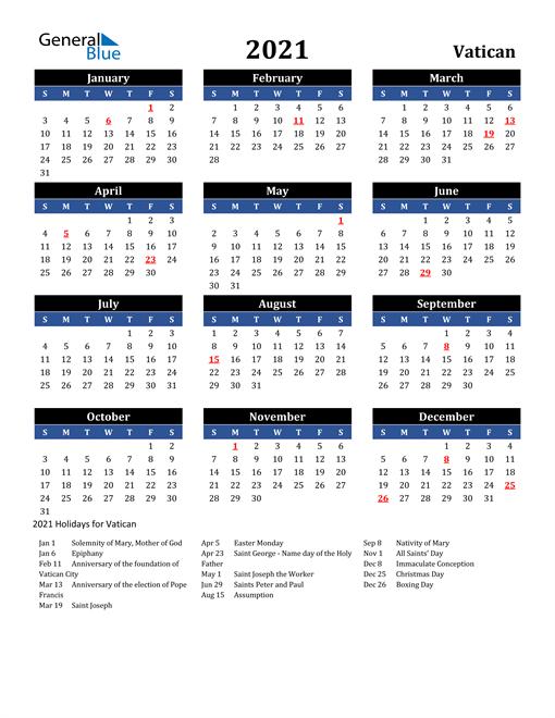 2021 Vatican Free Calendar