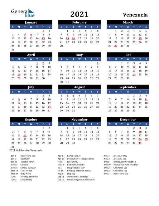 2021 Venezuela Free Calendar