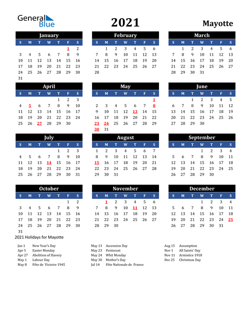 2021 Mayotte Free Calendar