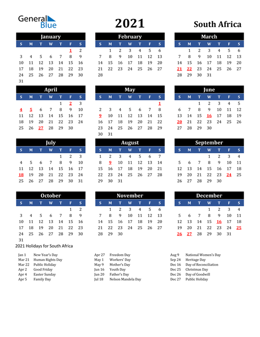 Image of South Africa 2021 Calendar in Blue and Black with Holidays