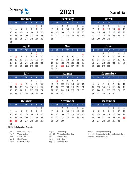 2021 Zambia Free Calendar
