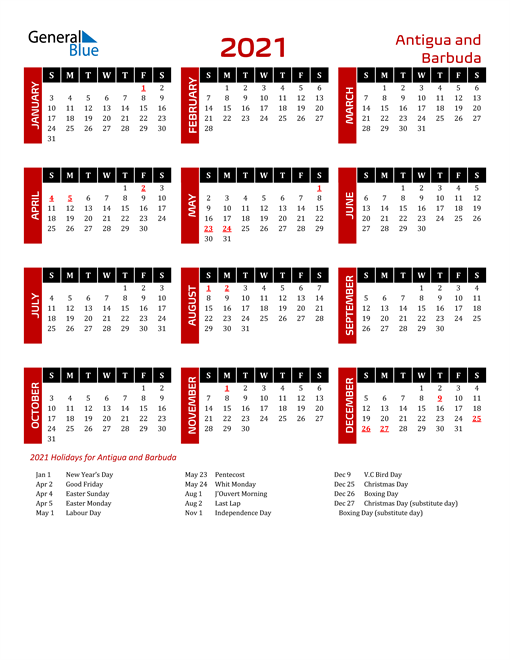 Download Antigua and Barbuda 2021 Calendar