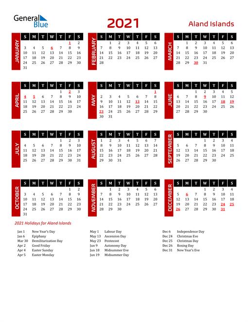 Download Aland Islands 2021 Calendar