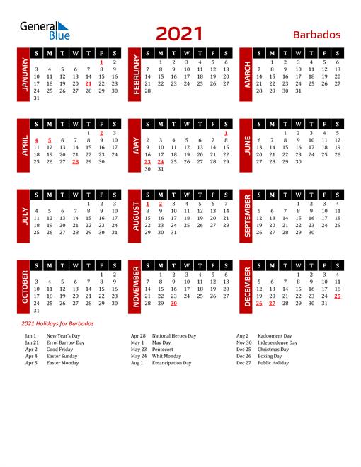 Download Barbados 2021 Calendar