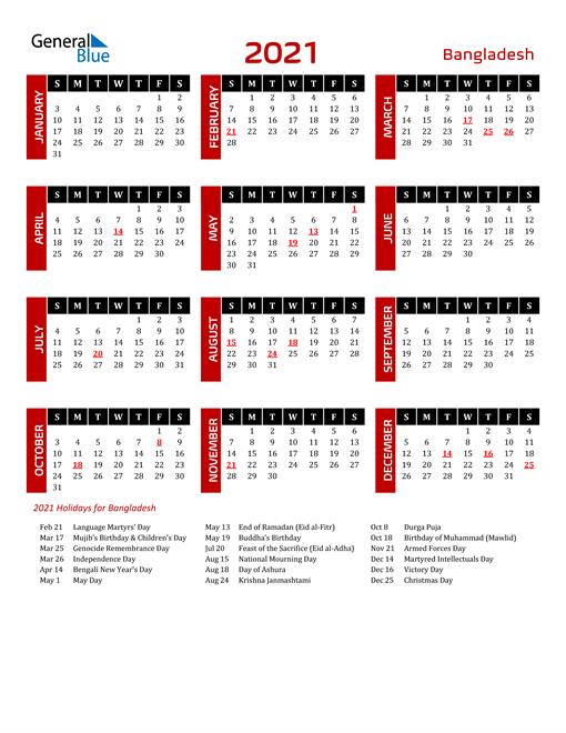 Download Bangladesh 2021 Calendar