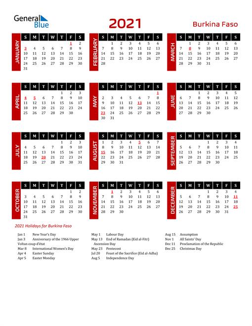 Download Burkina Faso 2021 Calendar