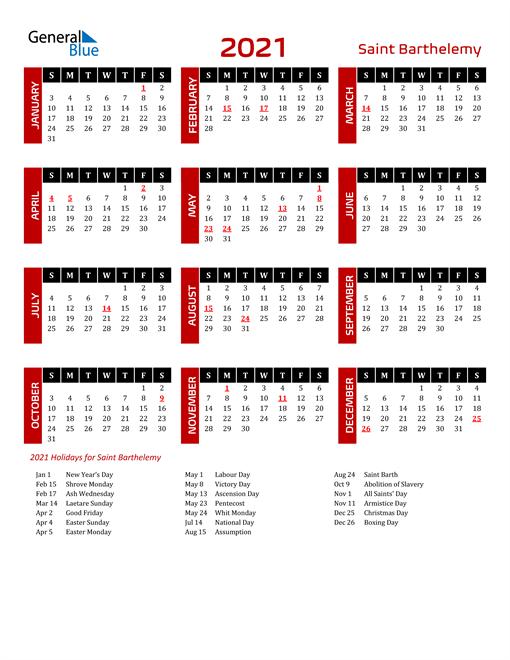 Download Saint Barthelemy 2021 Calendar