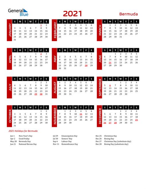Download Bermuda 2021 Calendar