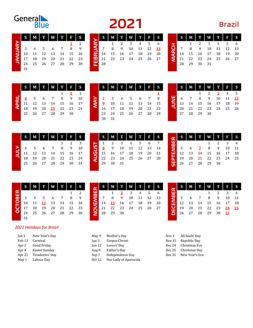 Download Brazil 2021 Calendar