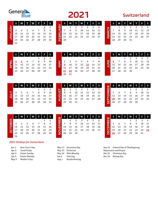Download Switzerland 2021 Calendar