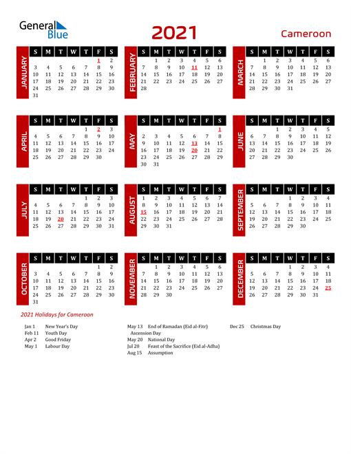Download Cameroon 2021 Calendar