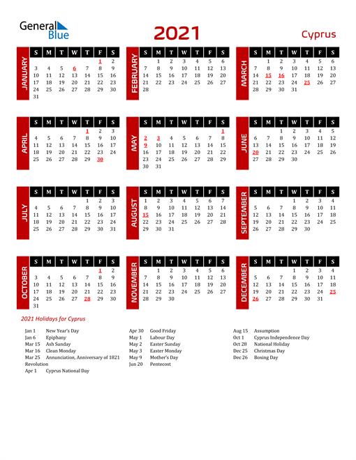Download Cyprus 2021 Calendar