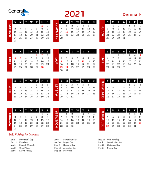 Download Denmark 2021 Calendar