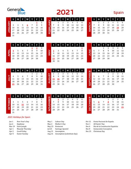 Download Spain 2021 Calendar