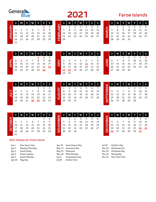 Download Faroe Islands 2021 Calendar