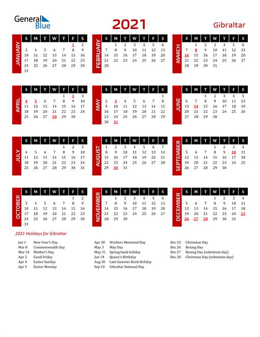 Download Gibraltar 2021 Calendar