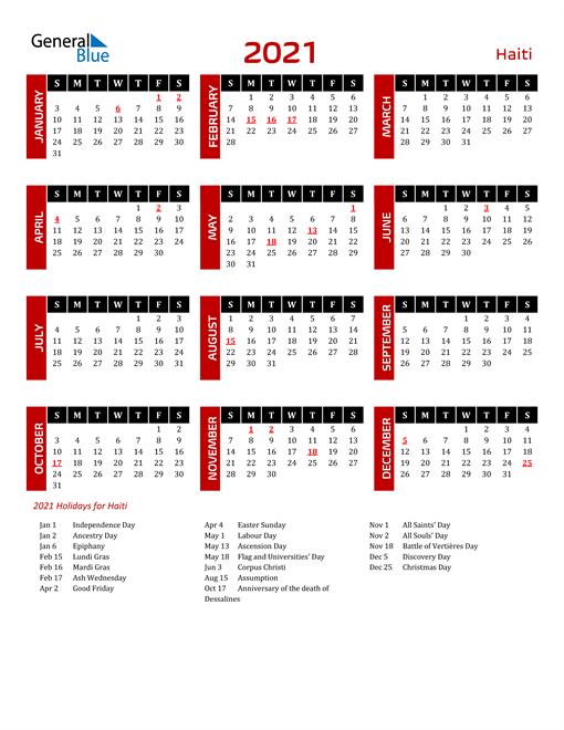 Download Haiti 2021 Calendar