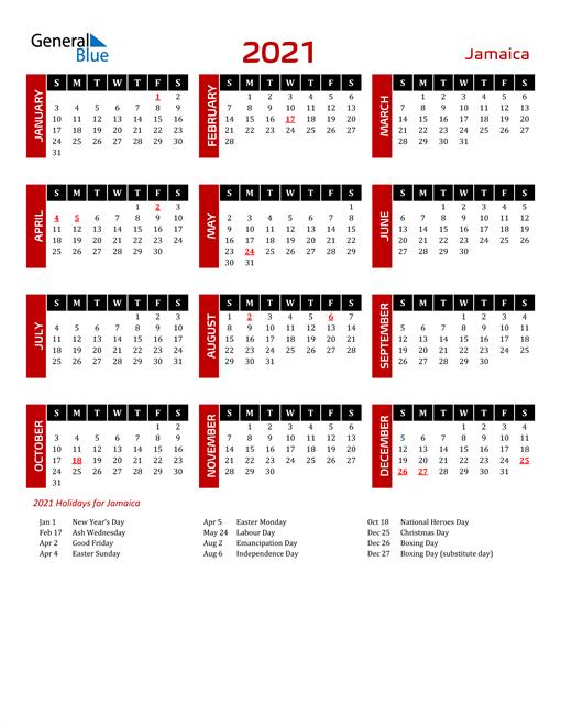 Download Jamaica 2021 Calendar