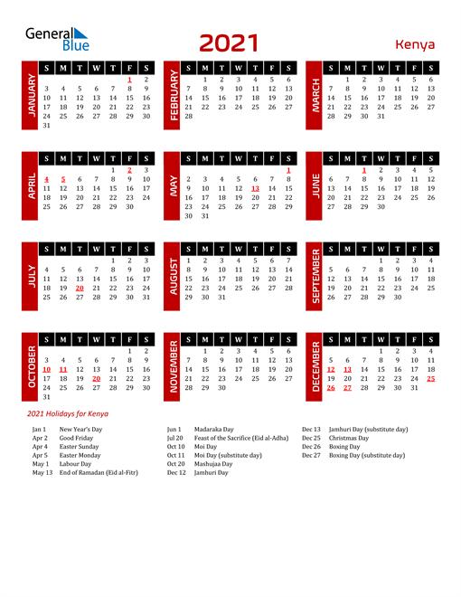Download Kenya 2021 Calendar