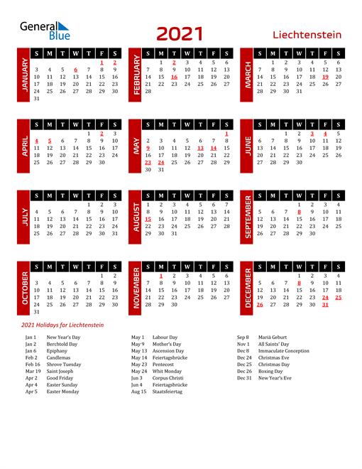 Download Liechtenstein 2021 Calendar