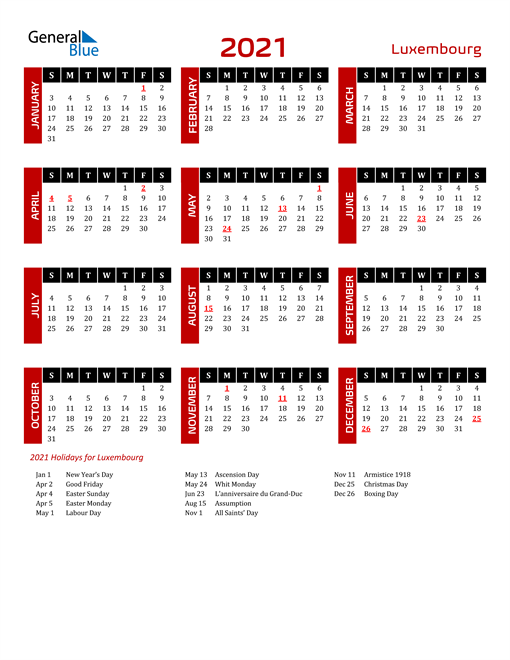 Download Luxembourg 2021 Calendar