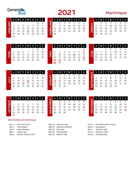 Download Martinique 2021 Calendar