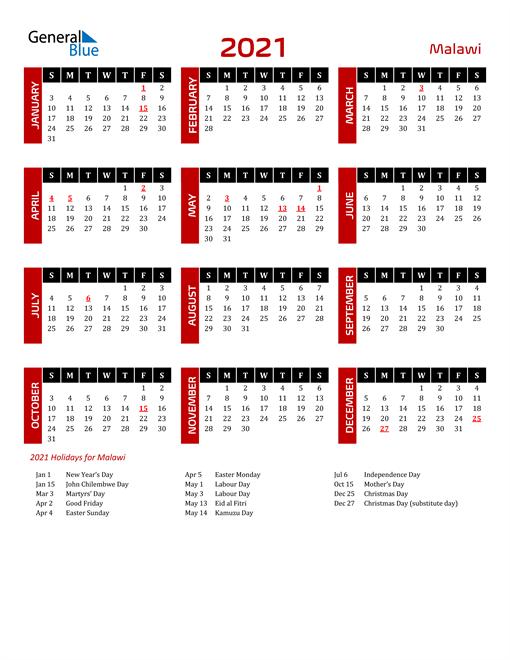 Download Malawi 2021 Calendar