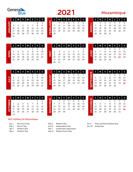 Download Mozambique 2021 Calendar