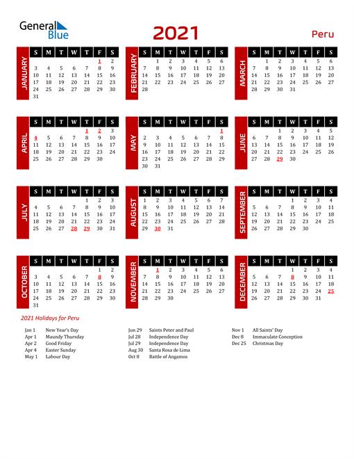 Download Peru 2021 Calendar