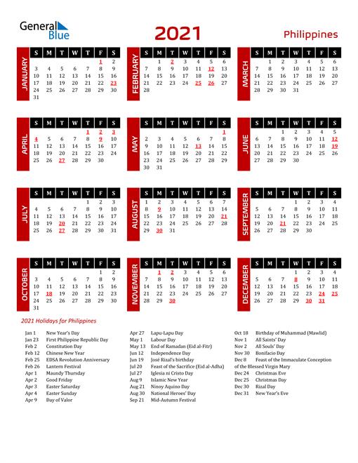 Download Philippines 2021 Calendar