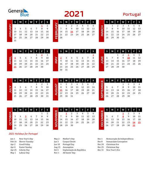 Download Portugal 2021 Calendar