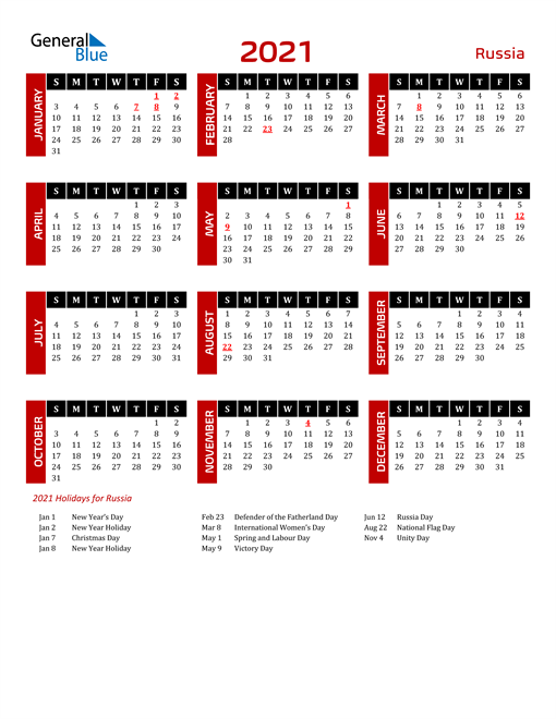 Download Russia 2021 Calendar