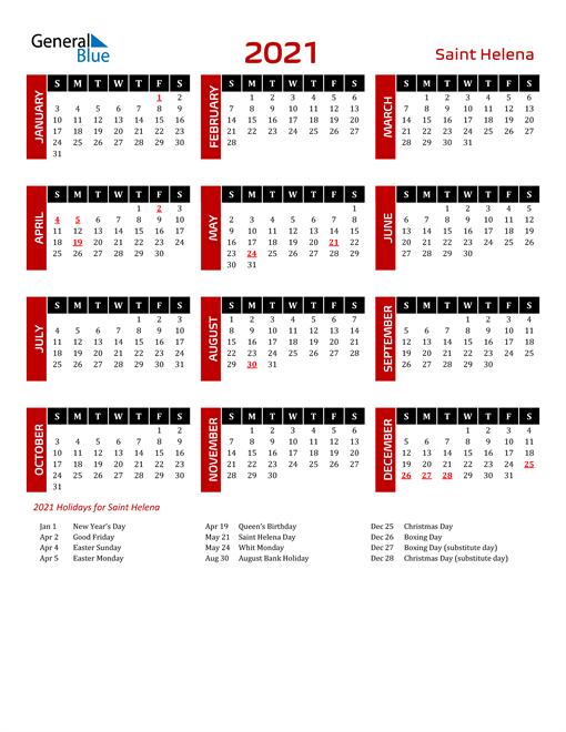 Download Saint Helena 2021 Calendar