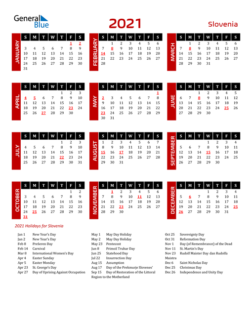 Download Slovenia 2021 Calendar