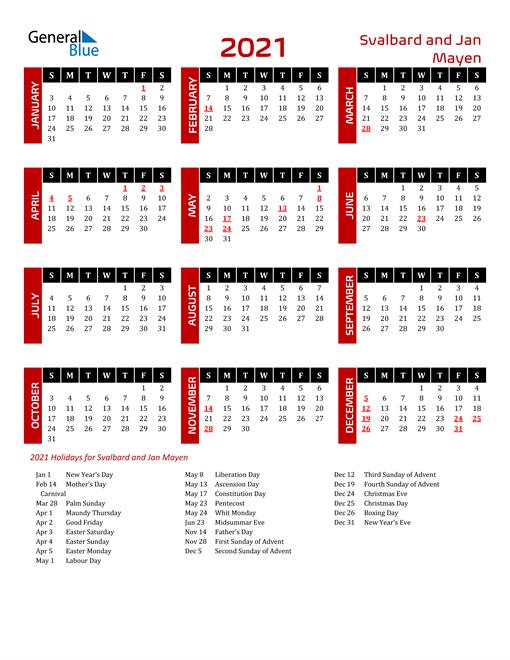 Download Svalbard and Jan Mayen 2021 Calendar