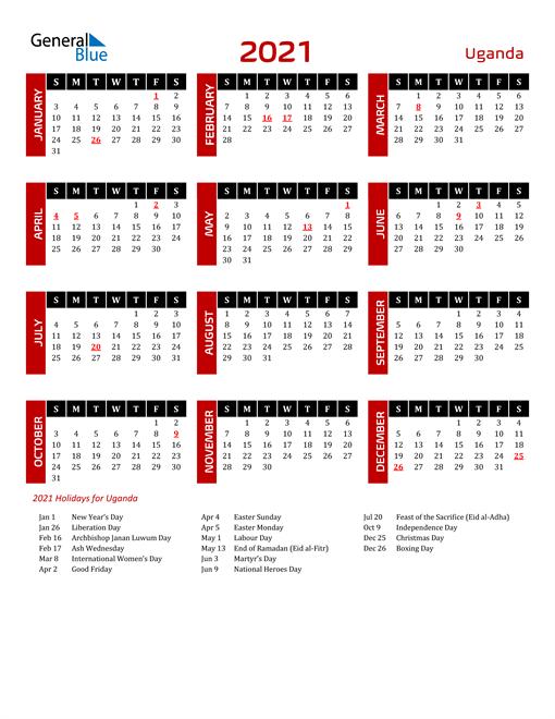 Download Uganda 2021 Calendar