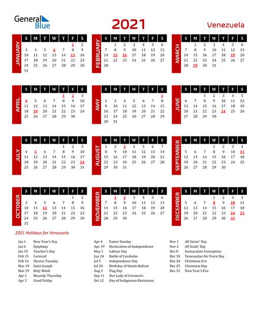 Download Venezuela 2021 Calendar