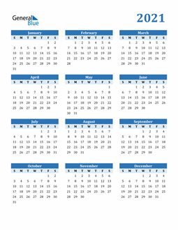Image of 2021 2021 Calendar Blue with No Borders