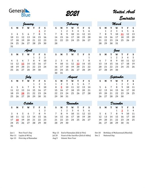 Image of 2021 Calendar in Script for United Arab Emirates