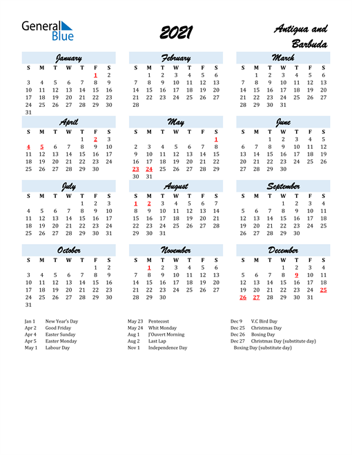 2021 Calendar for Antigua and Barbuda with Holidays