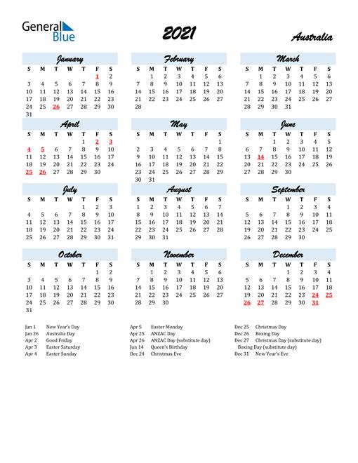 Image of 2021 Calendar in Script for Australia