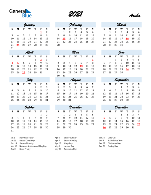2021 Calendar for Aruba with Holidays