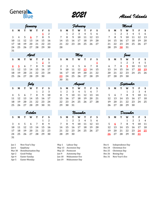 Image of 2021 Calendar in Script for Aland Islands